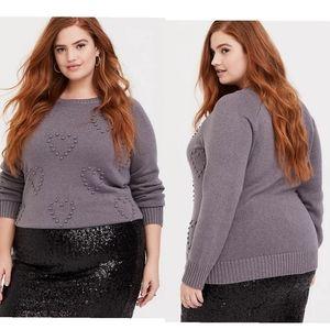 Torrid Grey Rib Textured Heart Raglan Sweater 3x